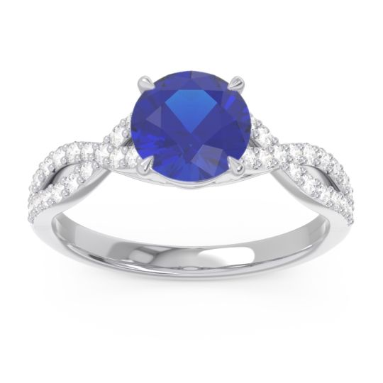 Blue Sapphire Pave Ivarna Ring with Diamond in 14k White Gold