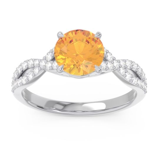Citrine Pave Ivarna Ring with Diamond in 14k White Gold