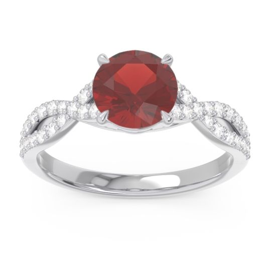 Garnet Pave Ivarna Ring with Diamond in 14k White Gold