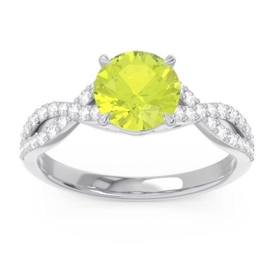 Peridot Pave Ivarna Ring with Diamond in 14k White Gold