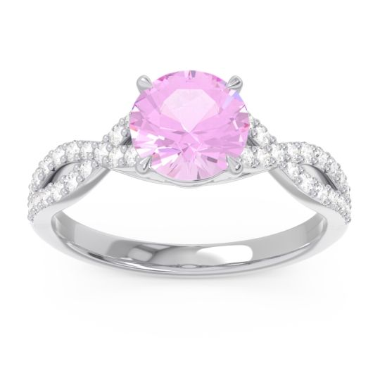 Pink Tourmaline Pave Ivarna Ring with Diamond in 14k White Gold