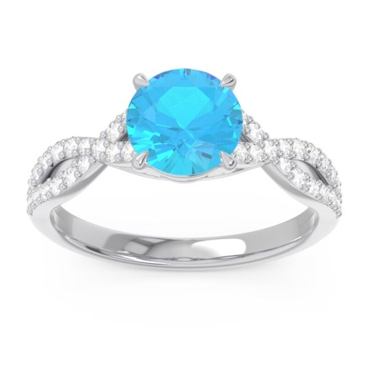 Swiss Blue Topaz Pave Ivarna Ring with Diamond in 14k White Gold