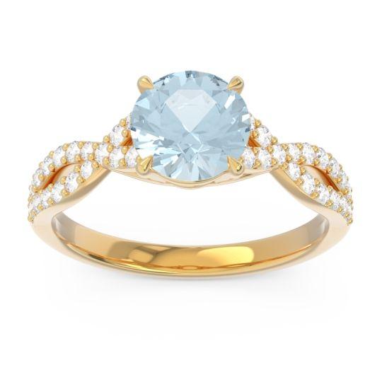 Aquamarine Pave Ivarna Ring with Diamond in 18k Yellow Gold