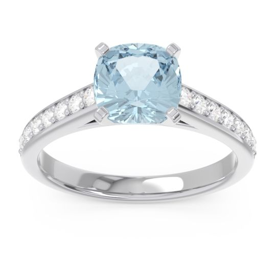 Aquamarine Cathedral Pave Cushion Sagga Ring with Diamond in Platinum