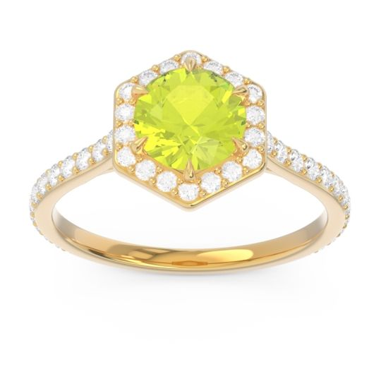 Halo Pave Zukti Peridot Ring with Diamond in 14k Yellow Gold