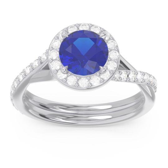 Halo Pave Cakravata Blue Sapphire Ring with Diamond in 14k White Gold