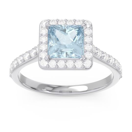 Halo Pave Princess Caturazra Aquamarine Ring with Diamond in 14k White Gold
