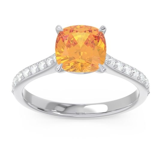 Cathedral Pave Cushion Opazin Citrine Ring with Diamond in 14k White Gold