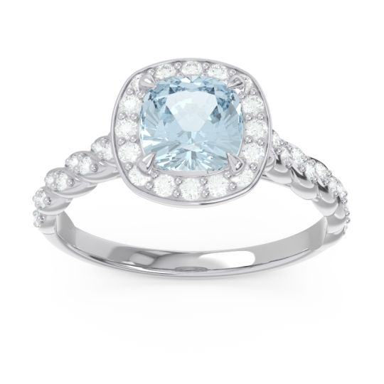Halo Pave Cushion Vanam Aquamarine Ring with Diamond in 14k White Gold