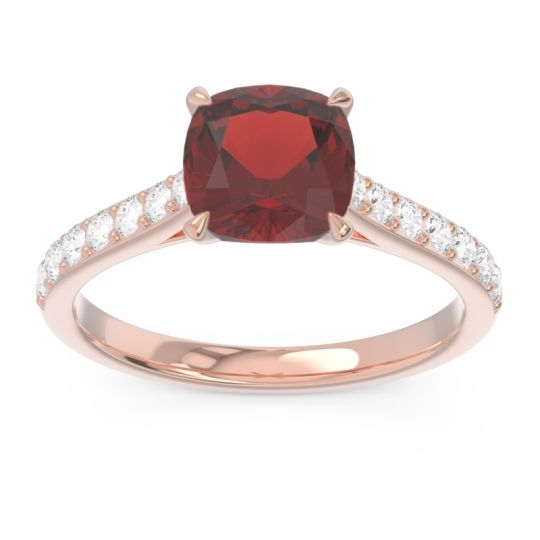 Cathedral Pave Cushion Uttha Garnet Ring with Diamond in 14K Rose Gold