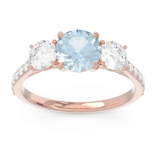 Three Stone Pave Trivisti Aquamarine Ring with Diamond in 14K Rose Gold
