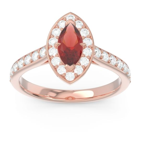 Halo Pave Marquise Nauka Garnet Ring with Diamond in 14K Rose Gold