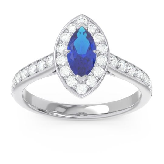 Halo Pave Marquise Nauka Blue Sapphire Ring with Diamond in 14k White Gold