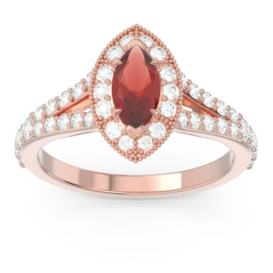 Halo Pave Milgrain Marquise Busaplavi Garnet Ring with Diamond in 14K Rose Gold