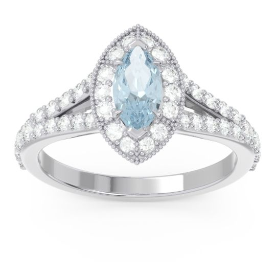 Halo Pave Milgrain Marquise Busaplavi Aquamarine Ring with Diamond in 14k White Gold