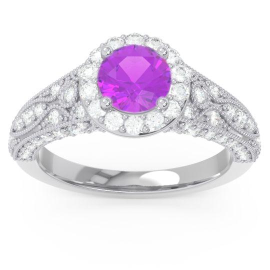Halo Pave Milgrain Marudyana Amethyst Ring with Diamond in 14k White Gold