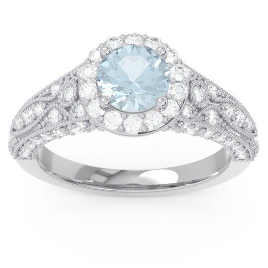 Halo Pave Milgrain Marudyana Aquamarine Ring with Diamond in 14k White Gold
