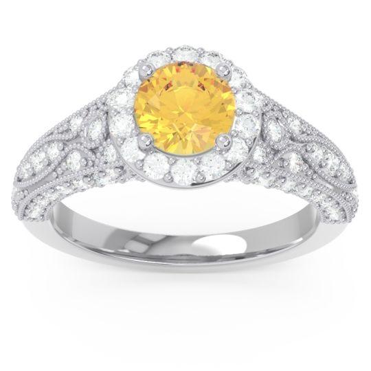 Halo Pave Milgrain Marudyana Citrine Ring with Diamond in 14k White Gold