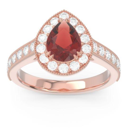 Halo Pave Milgrain Pear Samsic Garnet Ring with Diamond in 14K Rose Gold