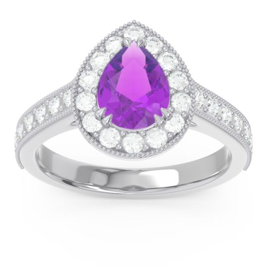 Halo Pave Milgrain Pear Samsic Amethyst Ring with Diamond in 14k White Gold