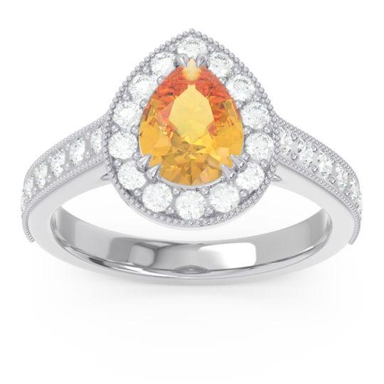 Halo Pave Milgrain Pear Samsic Citrine Ring with Diamond in 14k White Gold