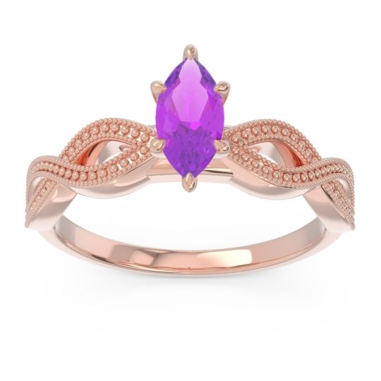 Solitaire Milgrain Marquise Sphatika Amethyst Ring in 14K Rose Gold