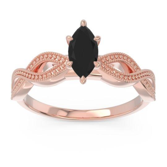 Solitaire Milgrain Marquise Sphatika Black Onyx Ring in 14K Rose Gold