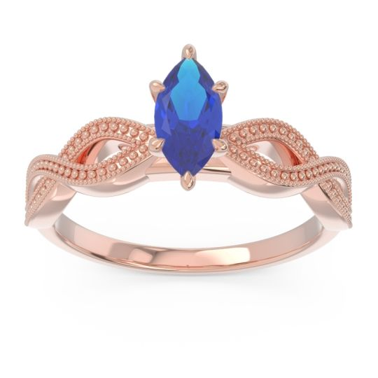 Solitaire Milgrain Marquise Sphatika Blue Sapphire Ring in 14K Rose Gold