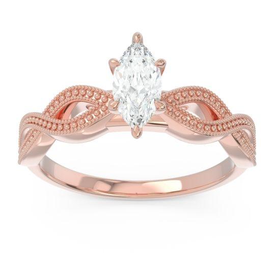 Solitaire Milgrain Marquise Sphatika Diamond Ring in 14K Rose Gold