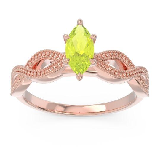Solitaire Milgrain Marquise Sphatika Peridot Ring in 14K Rose Gold