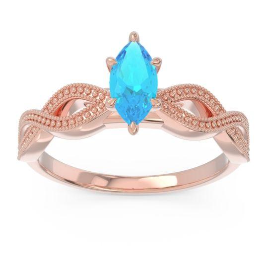 Solitaire Milgrain Marquise Sphatika Swiss Blue Topaz Ring in 14K Rose Gold