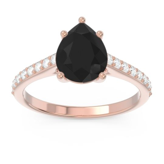 Solitaire Pear Sazaila Black Onyx Ring with Diamond in 14K Rose Gold