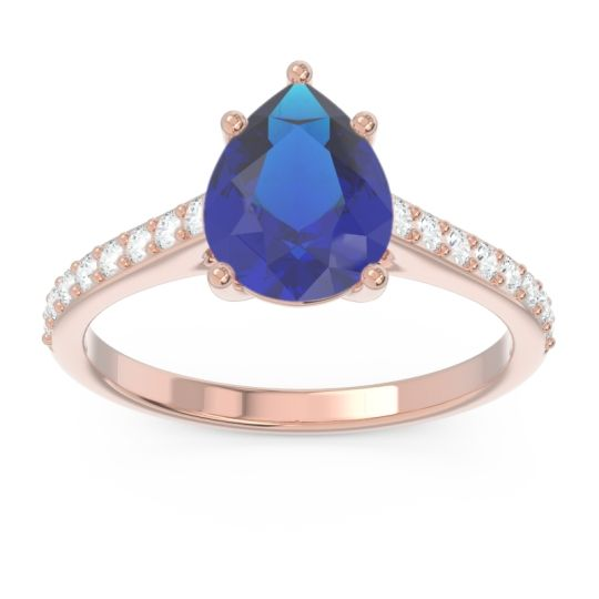 Solitaire Pear Sazaila Blue Sapphire Ring with Diamond in 14K Rose Gold
