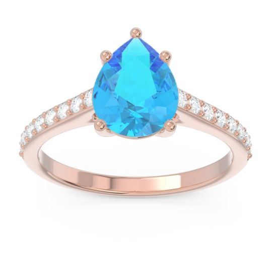 Solitaire Pear Sazaila Swiss Blue Topaz Ring with Diamond in 14K Rose Gold