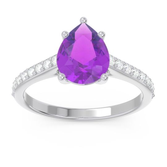 Solitaire Pear Sazaila Amethyst Ring with Diamond in 14k White Gold
