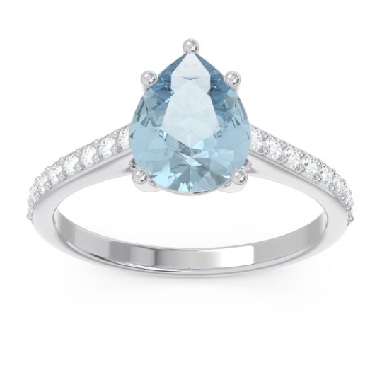 Solitaire Pear Sazaila Aquamarine Ring with Diamond in Palladium