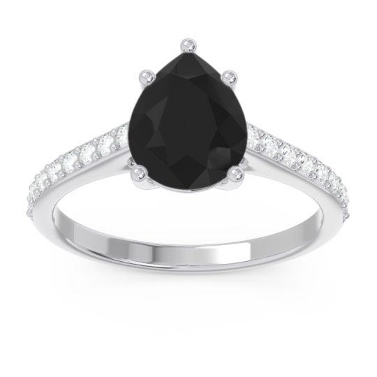 Solitaire Pear Sazaila Black Onyx Ring with Diamond in 14k White Gold