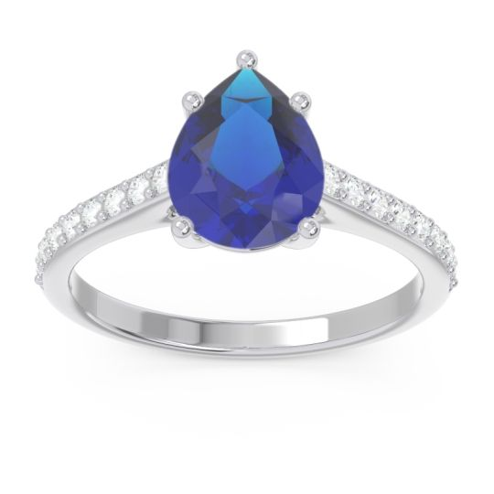 Solitaire Pear Sazaila Blue Sapphire Ring with Diamond in 14k White Gold