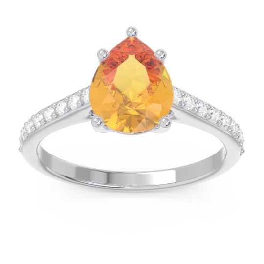 Solitaire Pear Sazaila Citrine Ring with Diamond in 14k White Gold