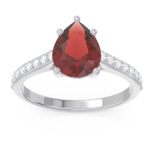 Solitaire Pear Sazaila Garnet Ring with Diamond in 14k White Gold