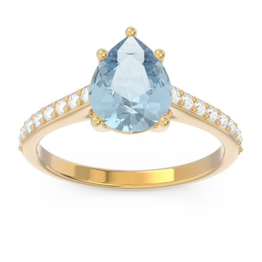 Solitaire Pear Sazaila Aquamarine Ring with Diamond in 14k Yellow Gold