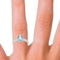 Solitaire Pear Sazaila Aquamarine Ring with Diamond in 14K Rose Gold