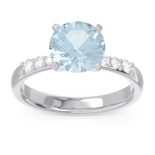 Pave Visuvat Aquamarine Ring with Diamond in 14k White Gold