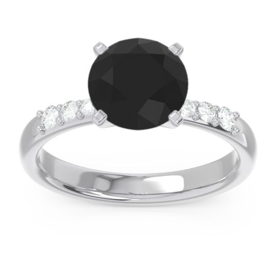 Pave Visuvat Black Onyx Ring with Diamond in 14k White Gold