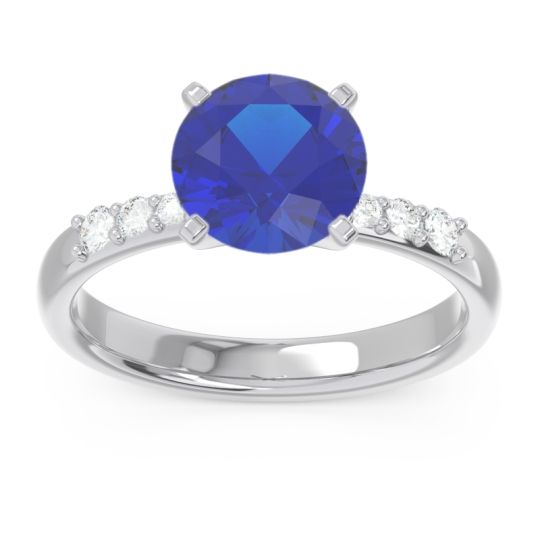Pave Visuvat Blue Sapphire Ring with Diamond in 14k White Gold
