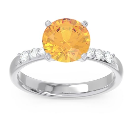 Pave Visuvat Citrine Ring with Diamond in 14k White Gold