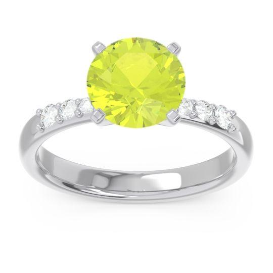 Pave Visuvat Peridot Ring with Diamond in 14k White Gold