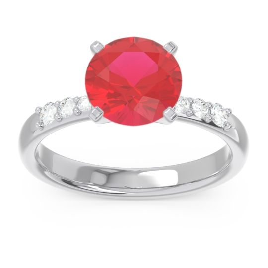 Pave Visuvat Ruby Ring with Diamond in 14k White Gold