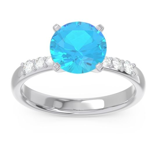 Pave Visuvat Swiss Blue Topaz Ring with Diamond in 14k White Gold