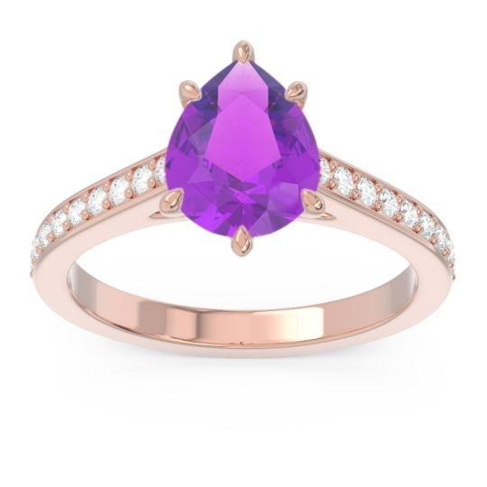 Cathedral Pave Pear Varanda Amethyst Ring with Diamond in 14K Rose Gold